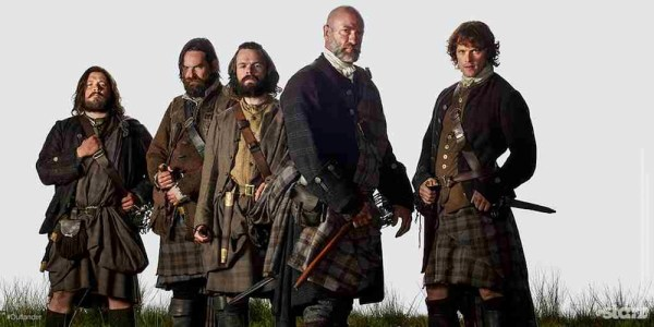 The men of clan MacKenzie. From left to right: Rupert, Murtagh, Angus, Dougal and Jamie. Photo from outlandertvnews.com.