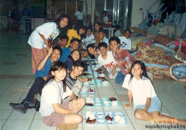 One of our (our first?) overnight stays in the cafeteria. Yan cooked our chicken. Photo courtesy of Jed.