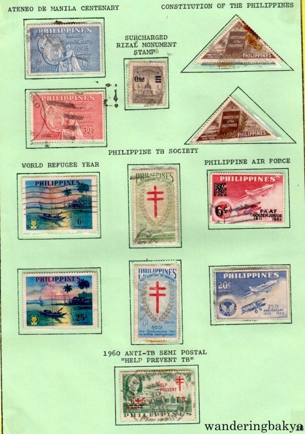 "Philippine Stamps: Ateneo De Manila Centenary, Constitution of the Philippines, Surcharged Rizal Monument Stamp, Philippine TB Society, World Refugee Year, Philippine Air Force, and 1960 Anti-TB Semi-Postal ""Help Prevent TB""."