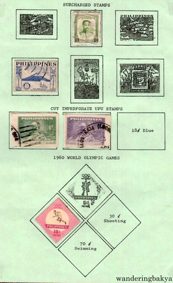 Philippine Stamps: Surcharged Stamps, Cut Imperforate UPU Stamos and 1960 World Olympic Games.