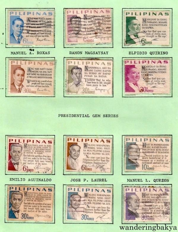 Philippine Stamps: Presidential Gem Series with Manuel A. Roxas, Ramon Magsaysay, Elpidio Quirino, Emilio Aguinaldo, Jose P. Laurel, and Manuel L. Quezon.
