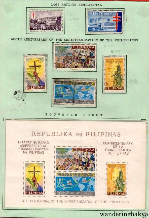 Philippine Stamps: 1965 Anti-TB Semi-Postal, 400th Anniversary of the Christianization of the Philippines and Souvenir Sheet for 4th Centennial of the Christianization of the Philippines.