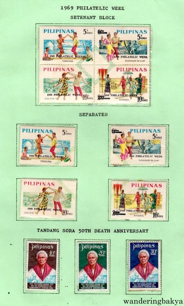Philippine Stamps: 1969 Philatelic Week (Setenant Block and Separated) and Tandang Sora 50th Death Anniversary.