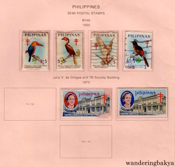 Philippine Stamps: Philippines Semi-Postal Stamps Birds (1969) ans Julia V de Ortigas and TB Society Building.
