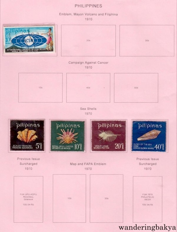 Philippine Stamps: Emblem (1970) and Sea Shells (1970).