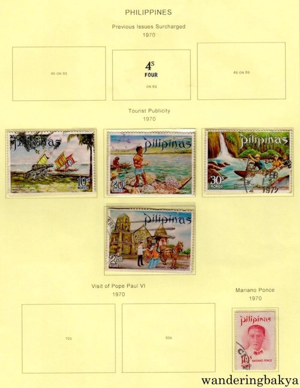 Philippine Stamps: Tourist Publicity (1970) and Mariano Ponce (1970).