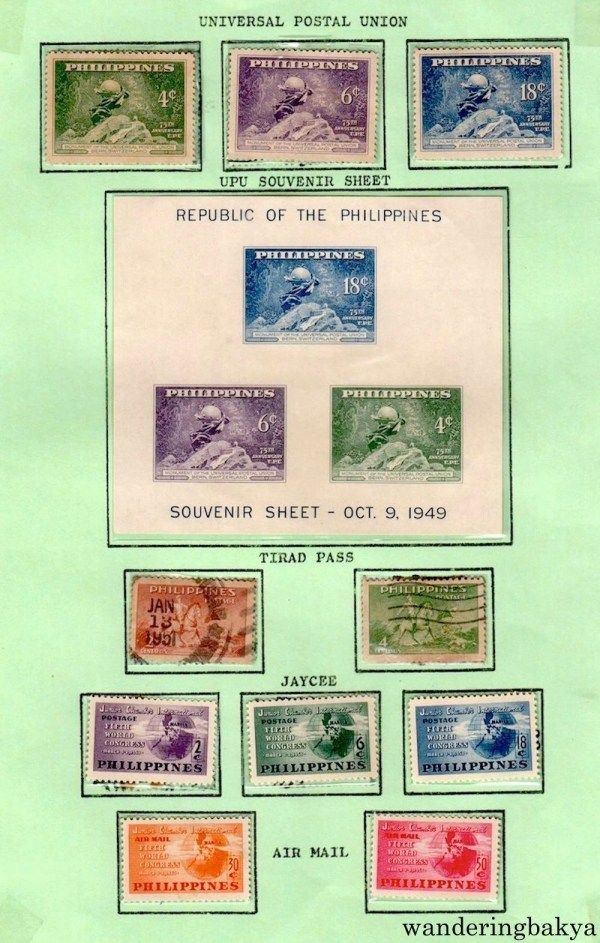 Philippine Stamps: Universal Postal Union, UPO Souvenir Sheet, Tirad Pass, Jaycee, and Air Mail.