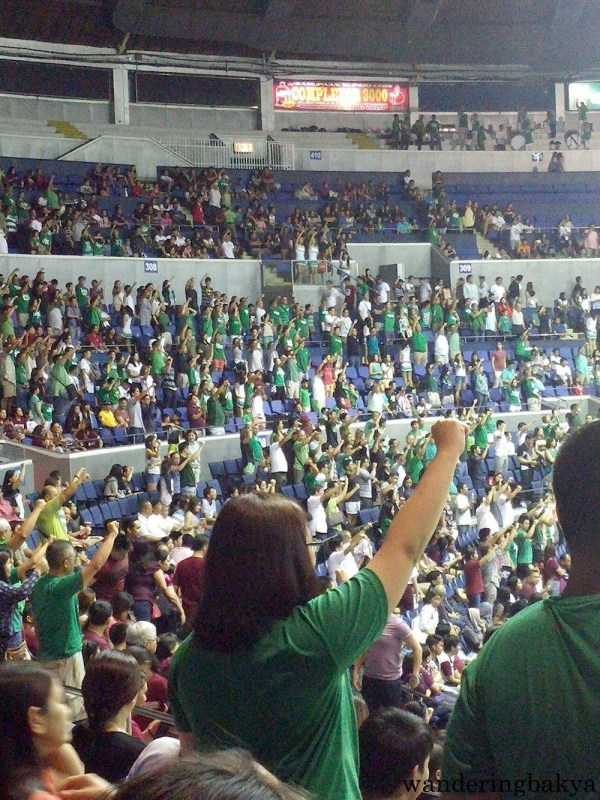 The La Salle crowd singing their school anthem.