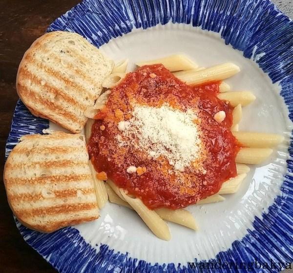 Spaghetti con melanzane, P180.00 (US $3.83)