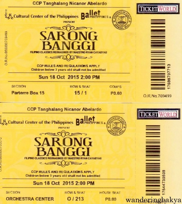 Tickets to Ballet Philippines' Sarong Banggi. Thank you, Jed!