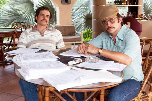 Wagner Moura as Pablo Escobar and Juan Pablo Raba as Gustavo Gaviria in Narcos. Photo from screencrush.com.