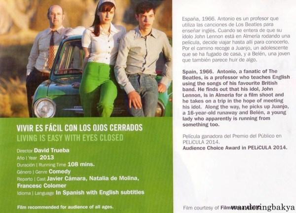 Vivir es Fácil con los Ojos Cerrados (Living is Easy with Eyes Closed) directed by David Trueba, 2013. I watched this film last year, and I lovelovelove Javier Cámara.