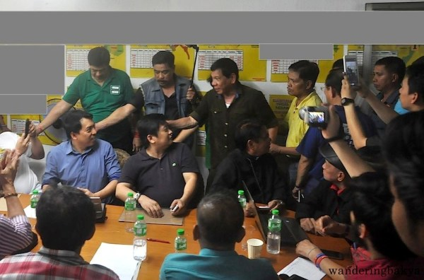 Mayor Rodrigo Duterte arrived at MRRD NECC National Headquarters on February 3, 2016