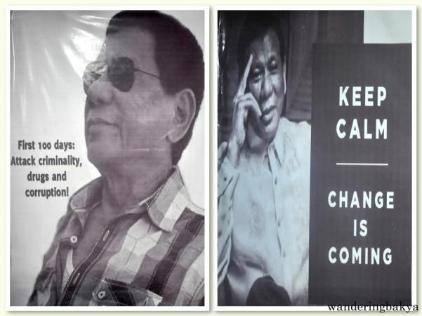 Tarpaulins of Mayor Rodrigo Roa Duterte. They measure 10 ft x 5 ft each. They are my favorites in a set of 8.