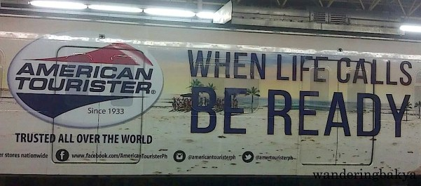 American Tourister tells LRT Line 2 riders to be ready when life calls.