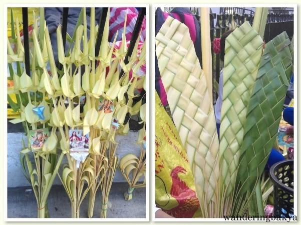 Philippine Holy Week. Palaspas (palm leaves) are blessed on Palm Sunday.