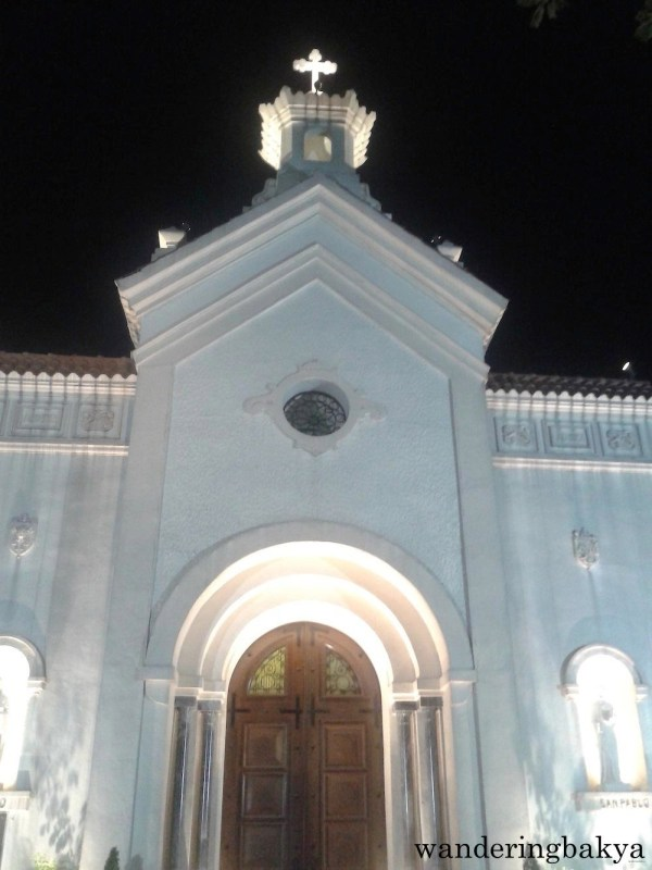 The façade of Saint John the Baptist Parish/Pinaglabanan Church at night.