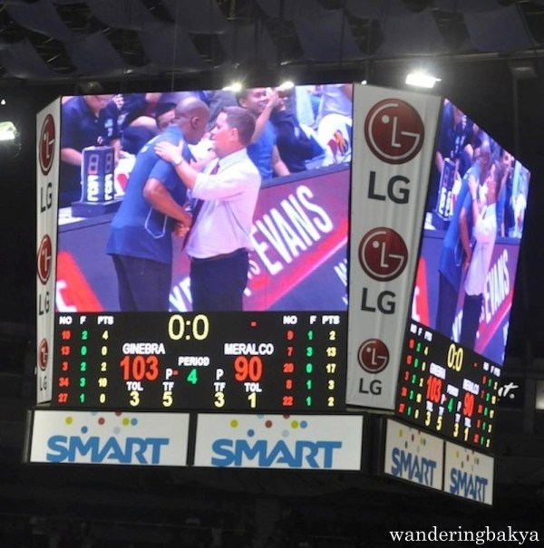 Norman Black (left) of Meralco Bolts and Tim Cone of Barangay Ginebra after the game