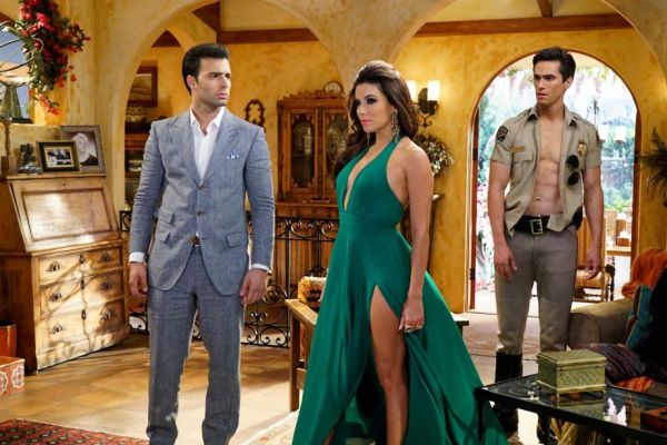 The stars of NBC's Telenovela (from left to right): Xavier Castillo (Jencarlos Canela), Ana Sofia Calderon (Eva Longoria) and Gael Garnica (Jose Moreno Brooks). Photo from chron.com