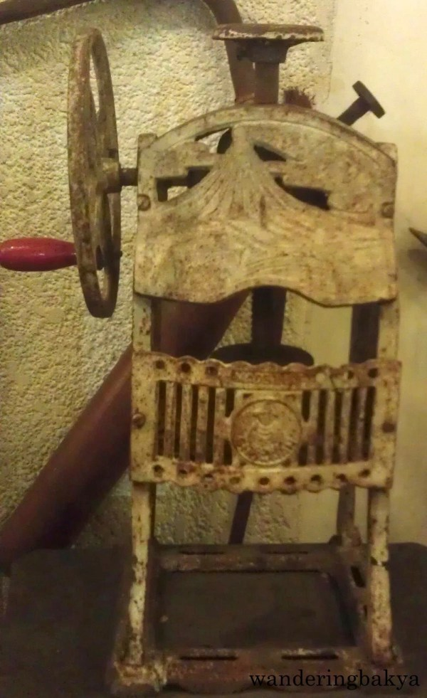 This is a vintage ice crusher. The halo-halo vendor in our town used this to make fine ice from a block of ice. I tried it more than once, and it was hard. Maybe I was too young to do it, but it was really heavy.