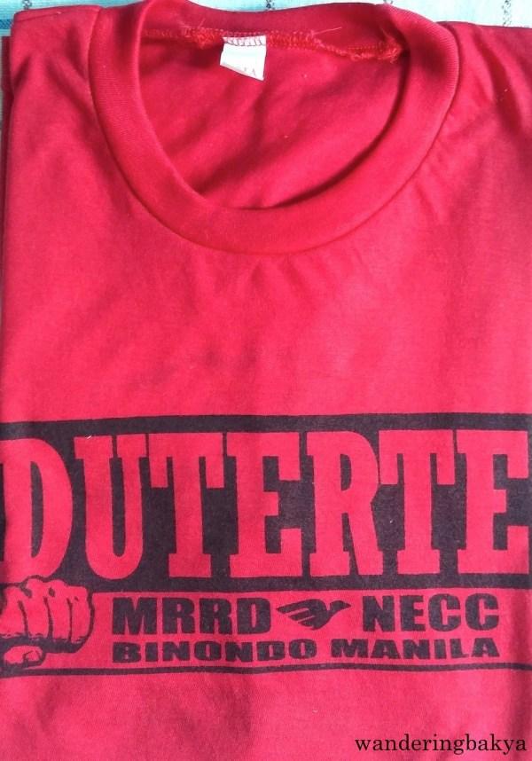 The front of Duterte shirt from MRRD – NECC Binondo, Manila.