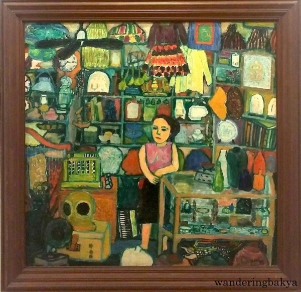Magluluma, 1978 (Oil on canvas). Collection of Antonio Austria. Regina C. Cruz wrote that Austria started collecting bottles in 1979 when he strayed into Gilda Cordero-Fernando's shop, and that shop is pictured in this painting.