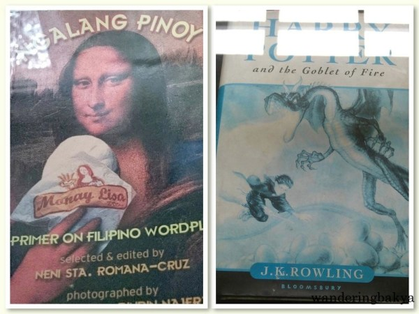Left: Ngalang Pinoy: A Primer on Filipino Wordplay, selected and edited by Neni Sta. Romana Cruz. Right: A first edition copy of J. K. Rowling's Harry Potter and the Goblet of Fire. Photo on the left is by SPRDC.