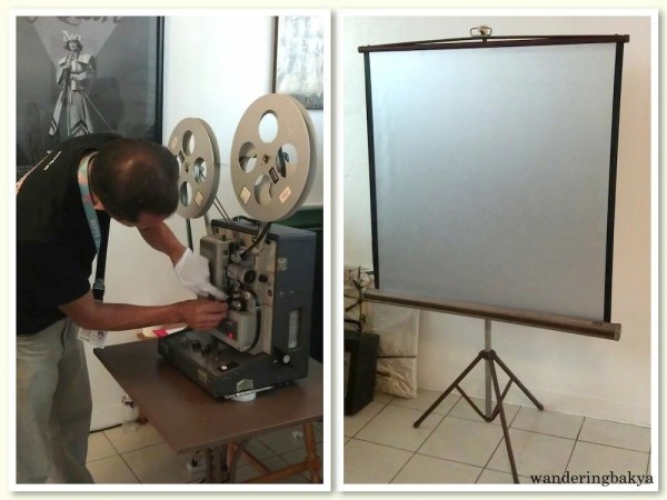 The 16mm film and the projector where it would be shown.