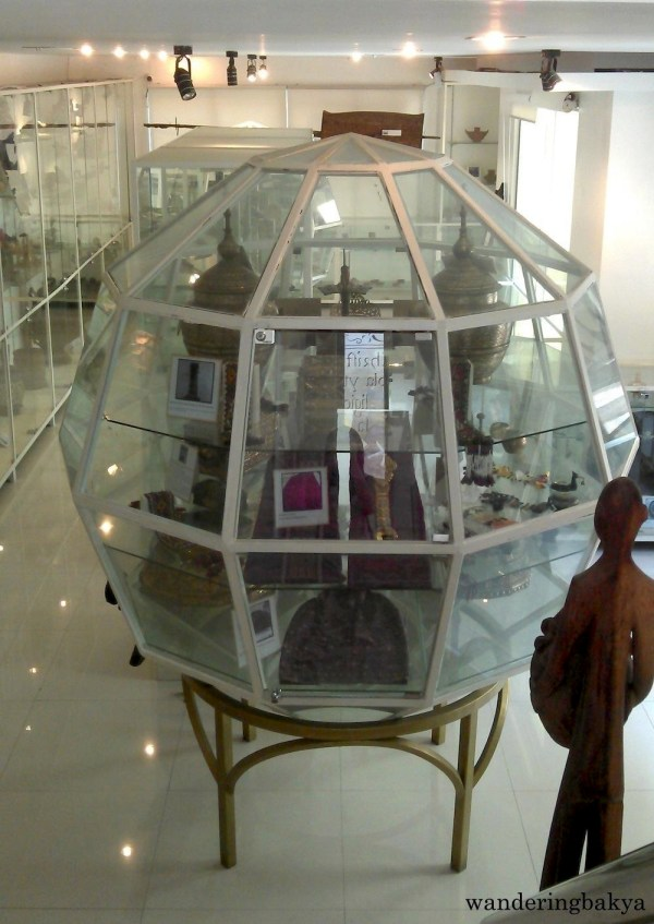 One of the two spherical glass displays on the ground floor of The Book Museum cum Ethnology Center – Southern Philippines