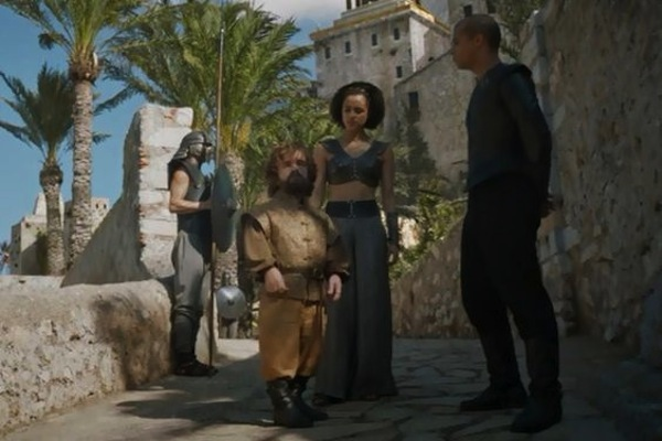 Game of Thrones' Tyrion Lannister (Peter Dinklage), Missandei (Nathalie Emmanuel) and Grey Worm (Jacob Anderson). Photo from pinterest.com