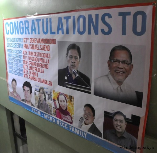 Beside it is this tarpaulin from MRRD NECC Family congratulating some of its distinguished members.