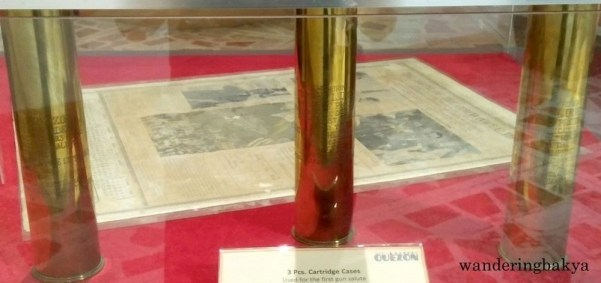 Three pieces of cartridge cases used for the first gun salute in honor of President Quezon, fired on June 3, 1936.