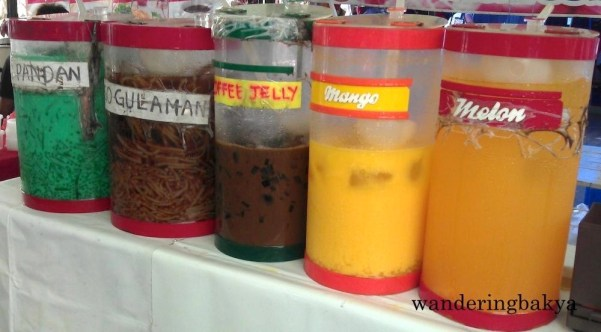 All the eating makes one thirsty. Drinks all: pandan, sago gulaman, coffee jelly, mango, and melon.
