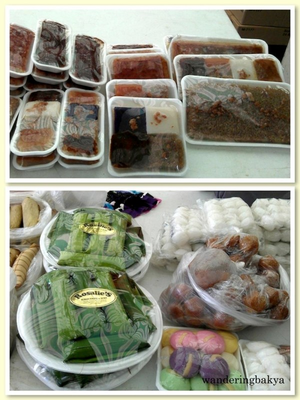 Filipino kakanin at Sidcor Sunday Market: plain puto, flavored puto cheese, kutsinta, biko, sapin-sapin, suman, and suman pinipig with buko (the one wrapped in green banana leaves).