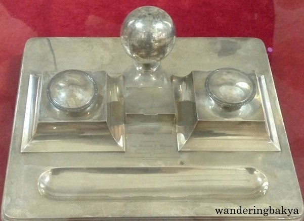 Sterling Silver Inkwell. On August 19, 1917, this was presented as birthday gift of Teodoro Yangco to Manuel L. Quezon, Resident Commissioner in Washington.