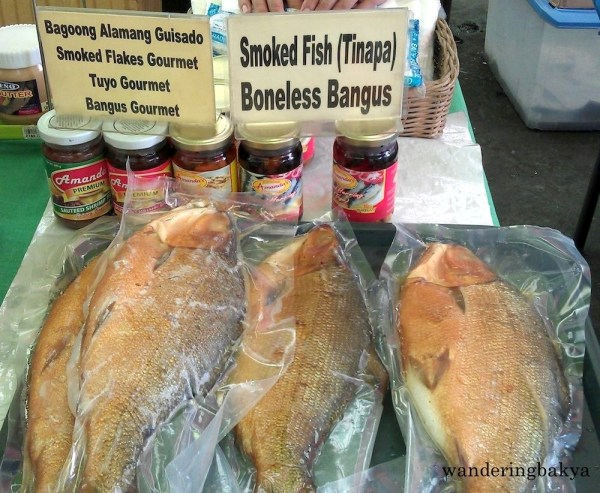 Bottled bagoong alamang guisado, smoked flakes gourmet, tuyo gourmet, and bangus gourmet. The smoked fish (tinapa) is P220.00 (US $ 4.72) each.