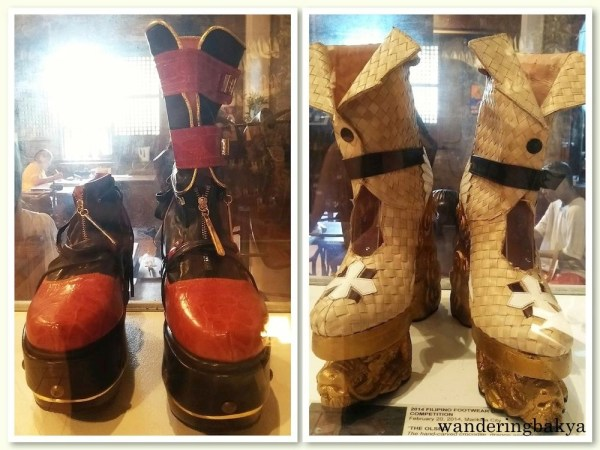 Left: Fourinone, designed by Rene Santos. Materials: genuine crocodile skin, calf skin, pig skin, gold metallic leather, EVA outsole and wedge. Right: The Olsed, shoes designed by Medelyn Ison. Materials: abaca, water lilies, mahogany, golden brown genuine leather.