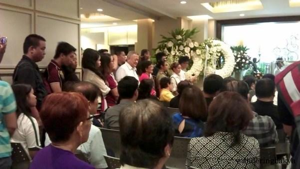 "Atty. Narciso ""Jun"" Santiago, husband of Senator Miriam, entered the chapel."