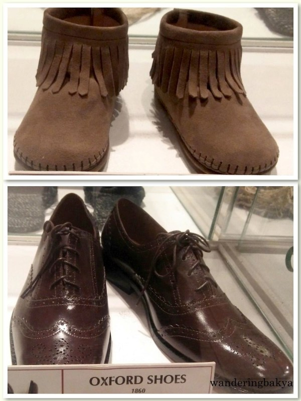 Top: Indian Moccasins (1750s). Native American shoes that varied and evolved in different tribes and climates. This easy to wear yet classy piece of footwear started an unending era of fashion footwear for men. Bottom: Oxford shoes (1860). Oxfords first appeared in Scotland and Ireland where they are occasionally called Balmorals after the Queen's castle in Scotland. These are few of the historical shoes that are still in fashion today.