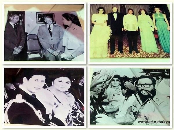 Some of the photos of Mrs. Imelda Marcos that accompanied her shoe display at Shoe Museum include her role as an ambassadress of the Philippines. Clockwise from the top: (1) US Vice President Walter Mondale, who officially visited the Marcoses in Manila, was briefed with President Jimmy Carter during one of the First Lady's mission to Washington. (2) US President Gerald Ford, his wife Betty and daughter Susan were overwhelmed by the welcome they received during a state visit to the Philippines in 1976. (3) After signing an agreement with Fidel Castro, Madam Imelda Romualdez Marcos and her children were personally shown around Havana by the Cuban leader. (4) Seated together at an official ceremony, Madam Imelda R. Marcos and England's Prince Charles discussed a topic close to their hearts: ecological balance in the design of cities.