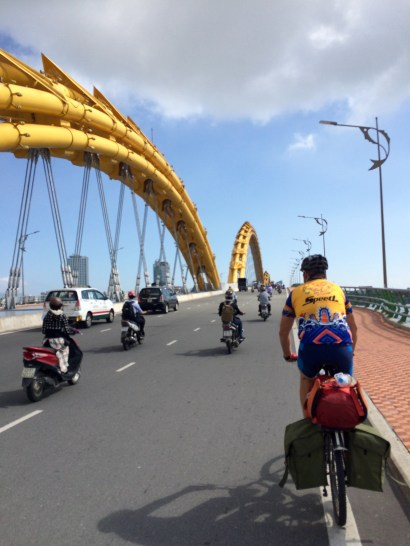 Crossing the Dragon Brige in Da Nang