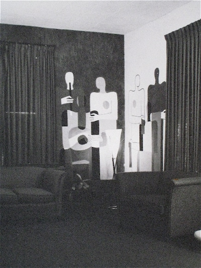 Black and white photo of Perehudoff murals from the 1950s