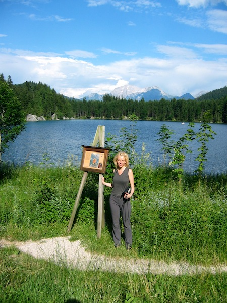 Wandering Carol on the art hike at Lake Hintersee