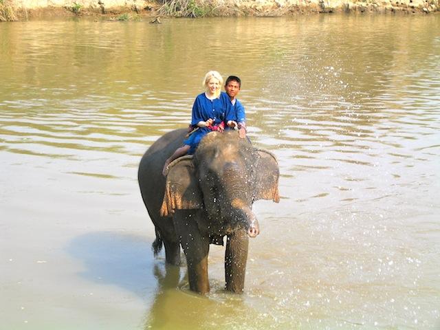 Carol Perehudoff elephant riding Thailand