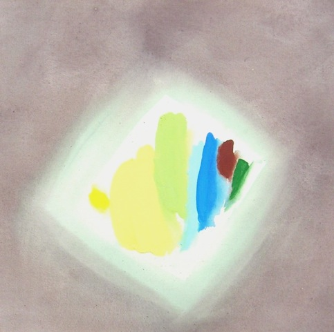 William Perehudoff halo painting 80s with yellow and grey