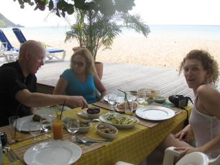 Dining beachside in Gaudeloupe
