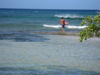 Surfer beach in Gaudeloupe