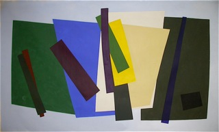 William Perehudoff 90s abstract painting with bold colours
