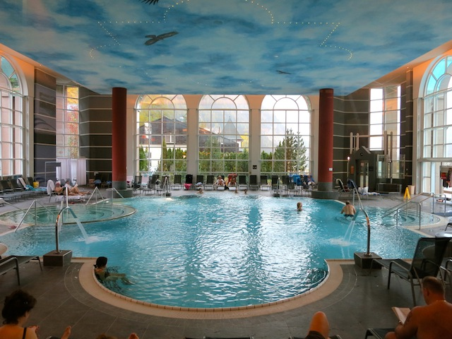 Hot springs spa in Leukerbad thermal spa of Wallister Alpentherme