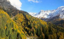 Leukerbad fall colours and mountains in Switzerland